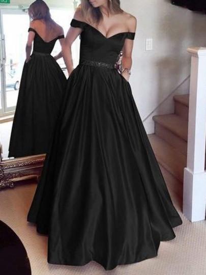 Schwarz Taschen Off Shoulder Rückenfreies Elegante Maxikleid Abendkleid Ballkleid