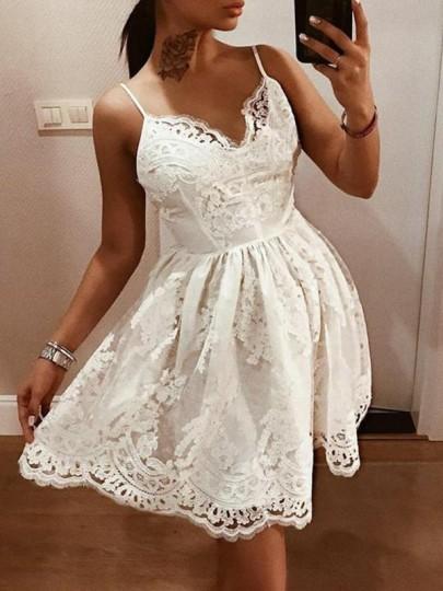 Weiß Spitze Cut Out Spaghettiträger V-Ausschnitt Rückenfreies Elegante Minikleid Partykleid Sommerkleid