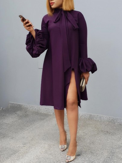Purple Belt Side Slits Bell Sleeve Casual Midi Dress