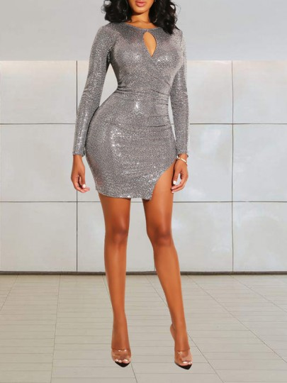 Silver Patchwork Sequin Bodycon Cut Out Side Slits Long Sleeve Round Neck Party Elegant Mini Dress
