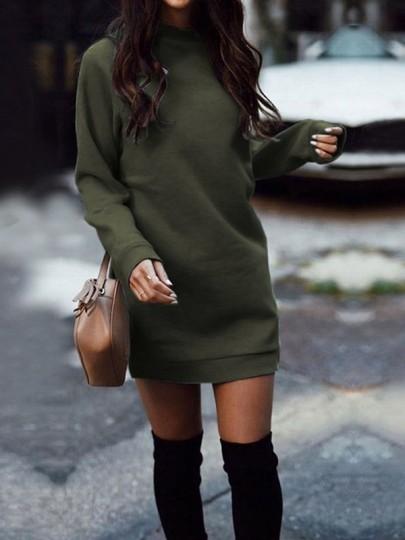 Armee-Grün Gefüttert Dick Rundhals Langarm Lässige Longpullover Sweatshirt Damen Pulloverkleid