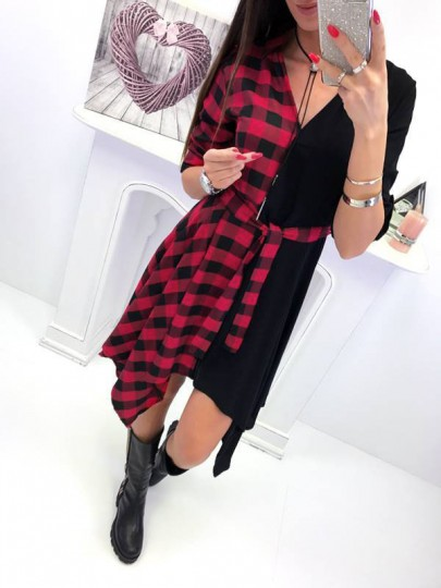 Red Plaid Belt Irregular V-neck Long Sleeve Casual Midi Dress