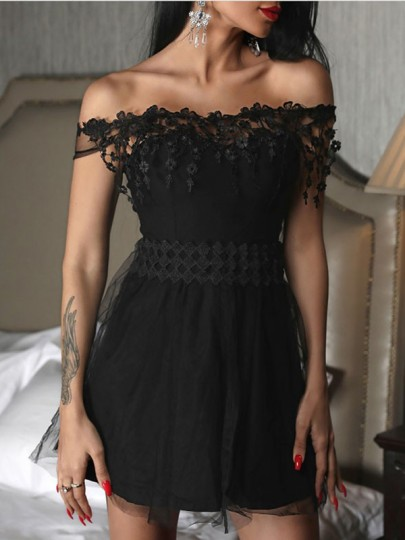 Black Patchwork Lace Off Shoulder Grenadine Tutu Homecoming Party Mini Dress