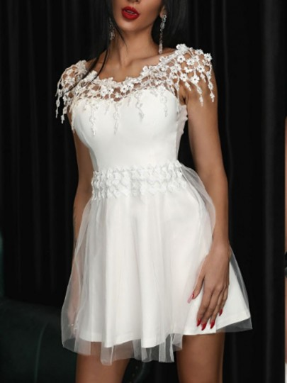 White Patchwork Lace Off Shoulder Grenadine Tutu Homecoming Party Mini Dress