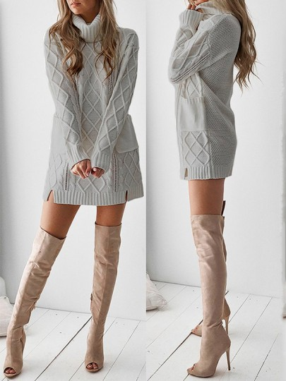 Grey Patchwork Pockets High Neck Casual Knit Mini Dress