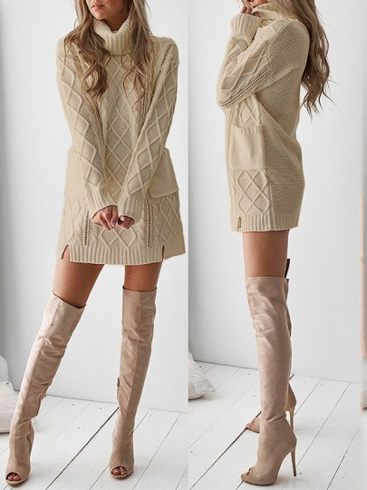 Khaki Patchwork Pockets High Neck Casual Knit Mini Dress