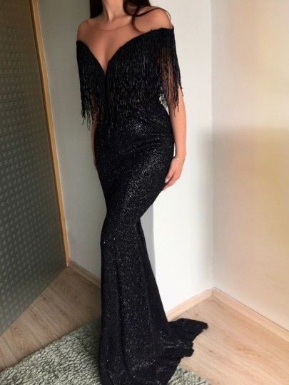 Black Patchwork Sequin Tassel Off Shoulder V-neck Elegant Maxi Dress