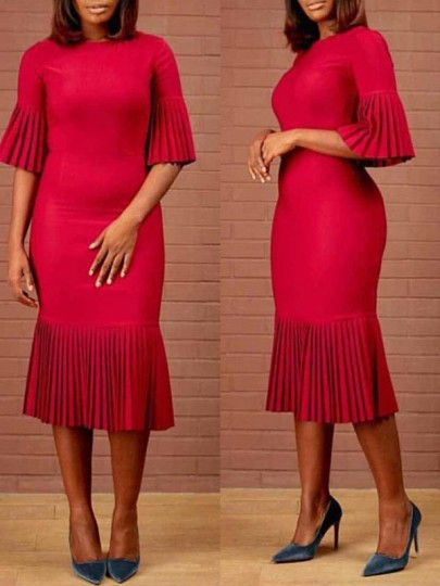 Red Pleated Bodycon Elegant Church Party Maxi Dress