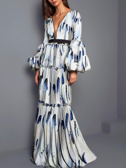 Grey Leaves Pattern Ruffle Deep V-neck Lantern Sleeve Dramatic Sleeves Bohemian Maxi Dress