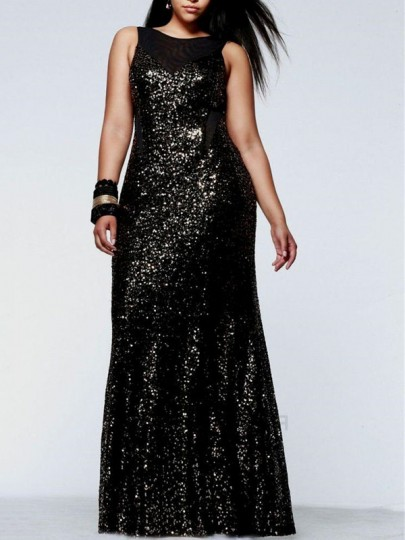 Black Patchwork Sequin Mermaid Bodycon Sparkly Glitter Birthday Prom Evening Party Maxi Dress