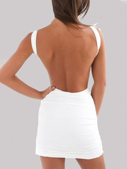 White Backless Round Neck Bodycon Clubwear Fashion Cute Party Mini Dress