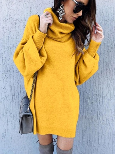Yellow Patchwork High Neck Lantern Sleeve Fashion Knit Mini Dress