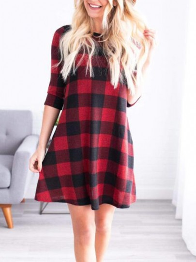 Red Buffalo Plaid Draped Long Sleeve Round Neck Countryside Casual Christmas Homecoming Mini Dress