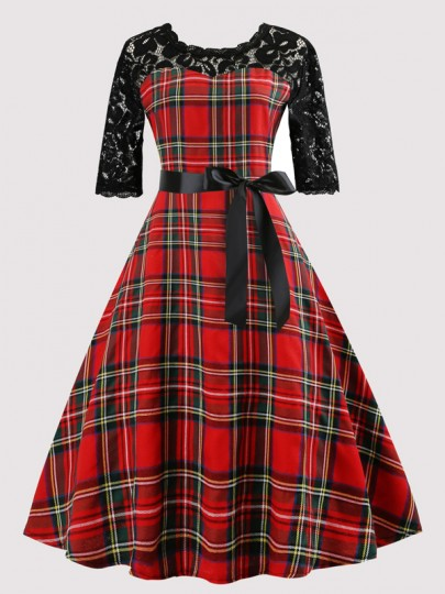 Red Plaid Lace Bow Draped Sashes Pleated Audrey Hepburn Vintage Evening Party Midi Dress