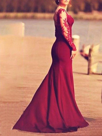 Burgundy Zipper Lace Cut Out Big Swing Long Sleeve Backless Mermaid Wedding Gowns Prom Elegant Maxi Dress