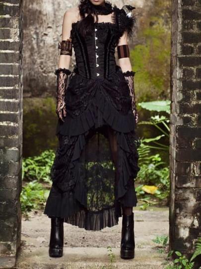 Robe mi-longue en dentelle découpée à volants gothique longueur cheville noir