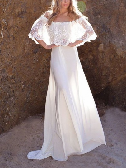 White Off Shoulder Lace Blackless Flowy Beachwear Party Boho Maxi Dress