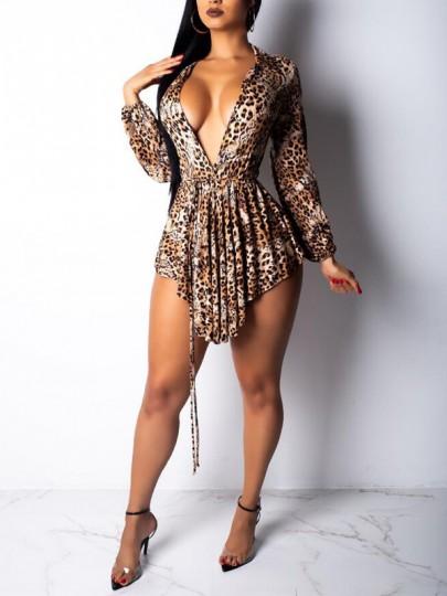 Brown Leopard Pattern Irregular Sashes Deep V-neck Clubwear Party Mini Dress