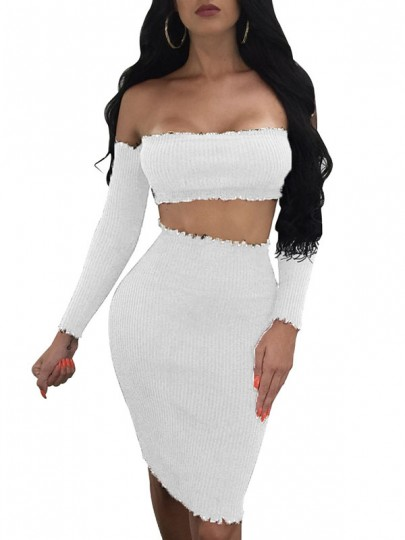 White Patchwork off-shoulder Skinny Long Sleeve Two-Piece Dress