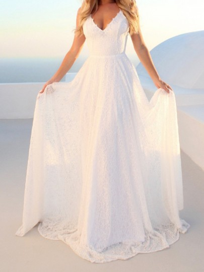 White Patchwork Lace Spaghetti Strap Tie Back Pleated V-neck Elegant Prom Evening Party Bridesmaid Maxi Dress