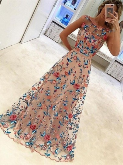 Pink Patchwork Grenadine Floral Pleated Prom Evening Party Maxi Dress