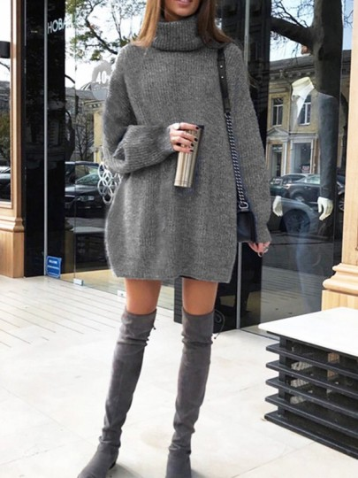 Dark Grey Cowl Neck Long Sleeve Oversize Knitwear Mini Dress
