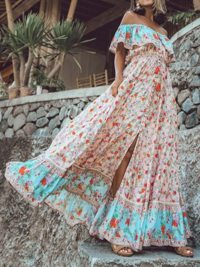 Pink Tribal Floral Ruffle Off Shoulder Single Breasted Flowy Holiday Bohemian Maxi Dress