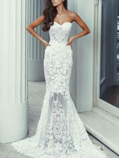 White Patchwork Lace Bandeau Mermaid Prom Evening Party Maxi Dress