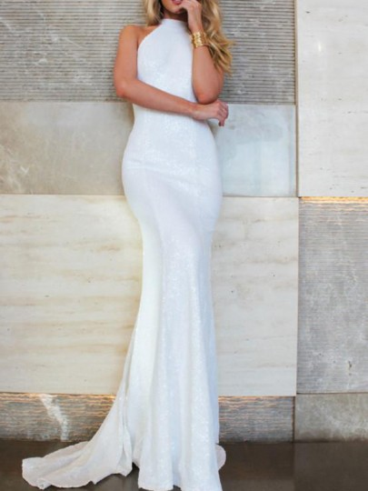 White Cut Out Backless Halter Neck Sleeveless Banquet Party Maxi Dress