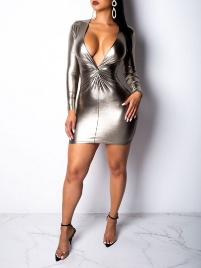 Golden Bodycon Deep V-neck Long Sleeve PU Leather Latex Vinly Party Mini Dress