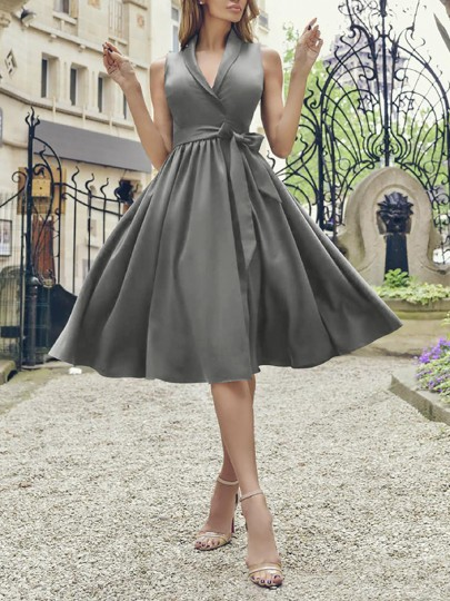 Grey Belt Draped V-neck Sleeveless Party Midi Dress