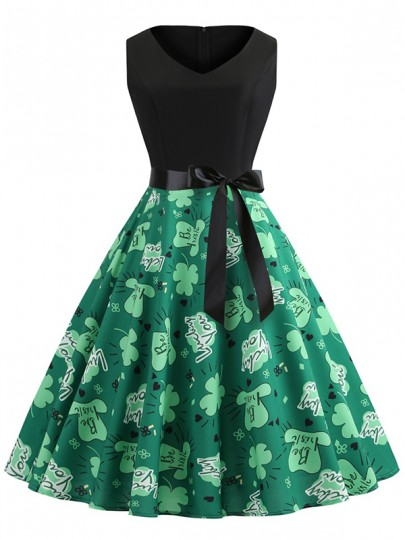 Green Floral Bow Print V-neck Sleeveless Shamrock Irish St. Patrick's Day Party Midi Dress