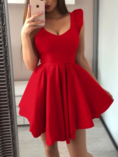 Red Ruffle Pleated Tutu V-neck Homecoming Party Mini Dress