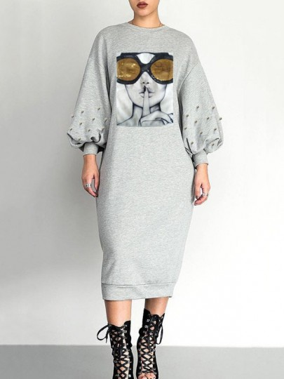 Grey Patchwork Sequin Pearl Puff Sleeve Long Sleeve Round Neck Casual Maxi Dress