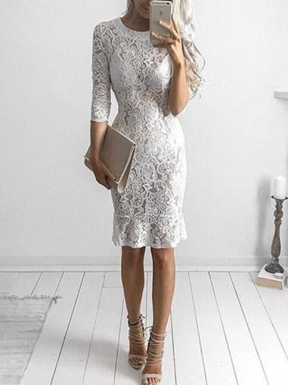 White Cut Out Lace Bodycon Round Neck Elbow Sleeve Party Midi Dress