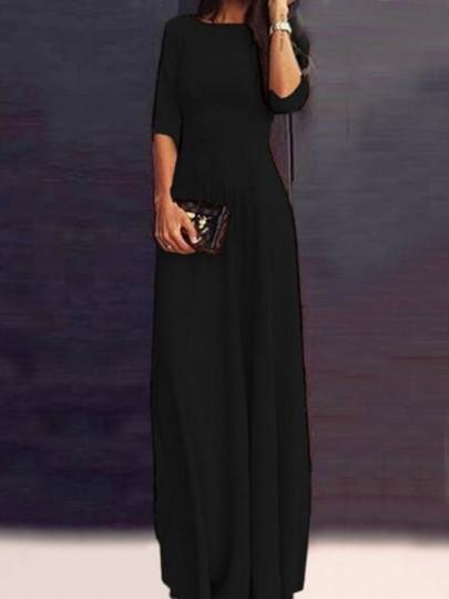 Black Draped Half Sleeve Floor Length Banquet Party Maxi Dress