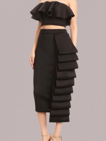 Black Cascading Ruffle Two Piece Off Shoulder Bodycon Party Maxi Dress
