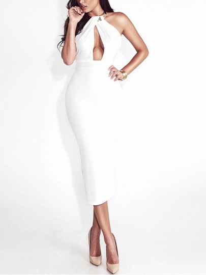 White Patchwork Cut Out Bodycon Halter Neck Party Midi Dress