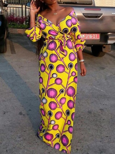 Yellow Polka Dot Sashes Off Shoulder Floor Length African Party Maxi Dress