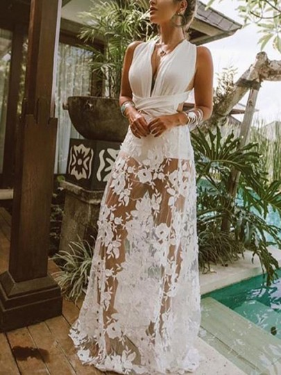 White Patchwork Lace Grenadine Irregular Cut Out Backless Cross Back V-neck Sleeveless Elegant Maxi Dress