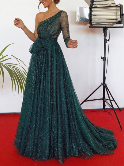 Green Patchwork Lace Pleated Asymmetric Shoulder Bright Wire Elegant Prom Evening Party Maxi Dress