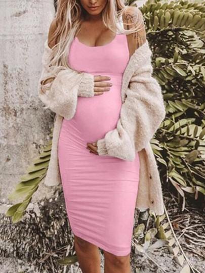 Pink Comfy Round Neck Spaghetti Strap Bodycon Casual Maternity Photoshoot Midi Dress