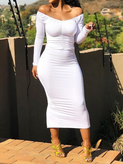 White Bandeau Off Shoulder Going Out Church Party Maxi Maternity Dress