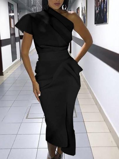 Robe longue crayon irrégulière une épaule manches courtes élégant noir