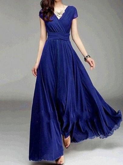 Robe longue en mousseline fluide v-cou manches courtes élégant bleu