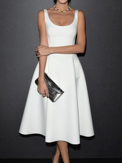 White Pockets Scoop Neck Big Swing Church Ball Gown Prom Wedding Guest Midi Dress