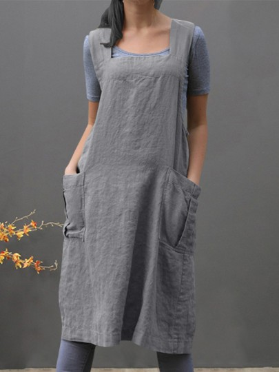 Grey Patchwork Pocket Sashes Square Neck Going out Midi Dress