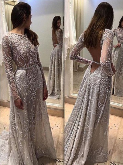 Grey Patchwork Grenadine Draped Backless Sequin Pearl Round Neck Long Sleeve Elegant Maxi Dress