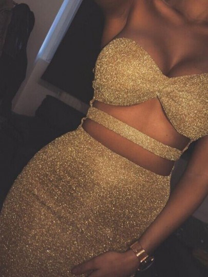Golden Shimmer Bright Wire Bandeau Cut Out Backless Clubwear Sparkly Birthday Party Mini Dress