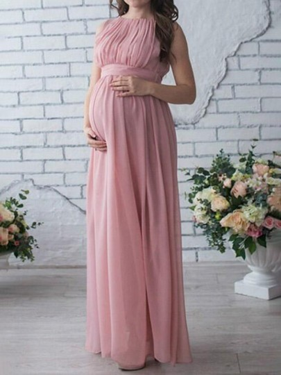 Pink Draped Sashes Chiffon Pleated Round Neck Sleeveless Elegant Maternity Photoshoot Maxi Dress